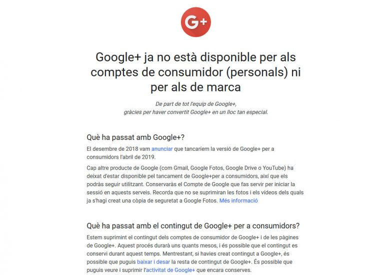 Cierre de Google+