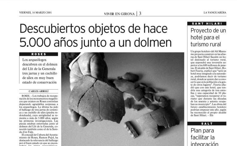 Descubiertos objetos de hace 5.000 años junto a un dolmen